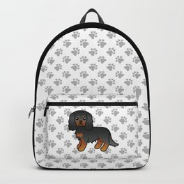 Cute Black And Tan Cavalier King Charles Spaniel Dog Cartoon Illustration Backpack