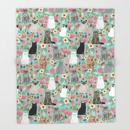 Cats floral mixed breed cat art cute gifts for cat ladies cat lovers pet art Decke