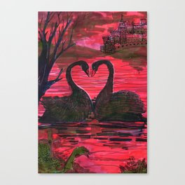 black swan in the darkness Canvas Print