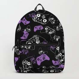 Video Game Lavender and Black Backpack