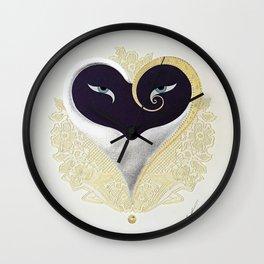 """Black & Gold Filigree Heart"" Design Wall Clock"