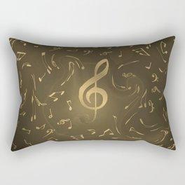 gold music notes swirl pattern Rectangular Pillow