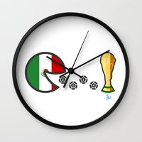 world cup Wall Clocks featuring Mexico World Cup 2014 by onejyoo