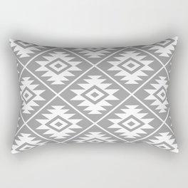 Aztec Symbol Pattern White on Gray Rectangular Pillow