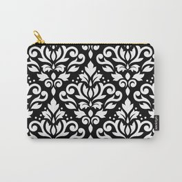 Scroll Damask Large Pattern White on Black Carry-All Pouch