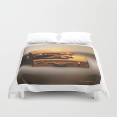 Vintage leather Suitcases Duvet Cover