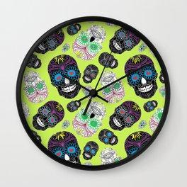 Day Of The Dead, Sugar Skulls Wall Clock