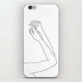 Woman's arms line drawing illustration - Davi iPhone Skin