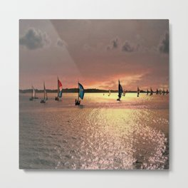 Sunset Sail In Bermuda Metal Print
