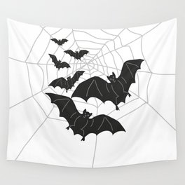 Black Bats with Spider Web Halloween Wall Tapestry