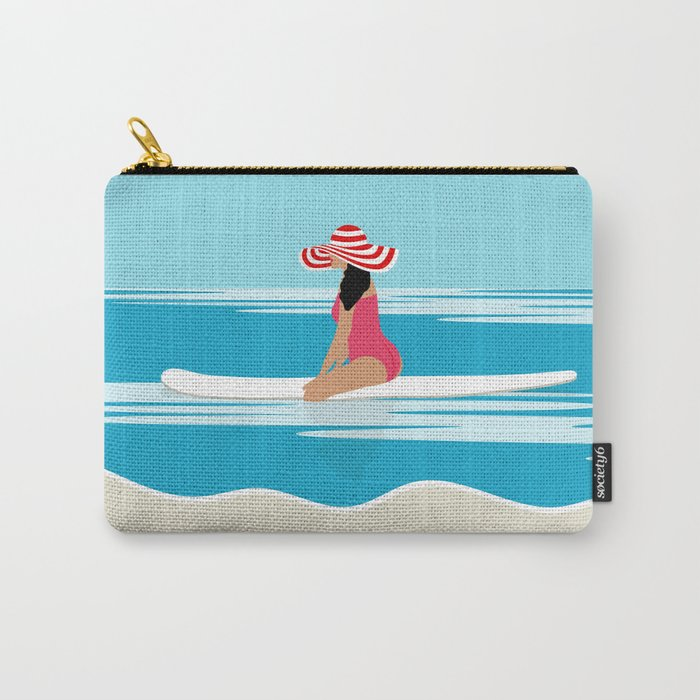 Solo surfing woman Carry-All Pouch