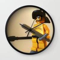 gladiator Wall Clocks featuring SPARTACUS THE GLADIATOR CUSTOM LEGO MINIFIG by Chillee Wilson by Chillee Wilson [Customize My Minifig]