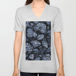 Blooms in the blue night Unisex V-Neck