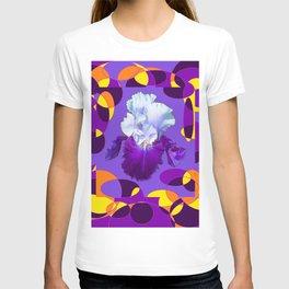 Artful Modern Purple-White Iris Yellow-Orange Design T-shirt