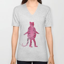 pink jungle cat illustration Unisex V-Neck