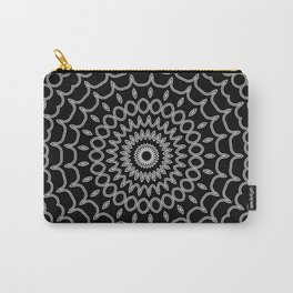 Mandala Fractal in Black and White Carry-All Pouch