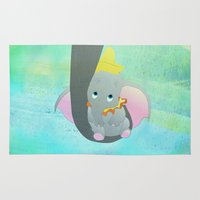 dumbo Area & Throw Rugs featuring dumbo and his mom by studiomarshallarts