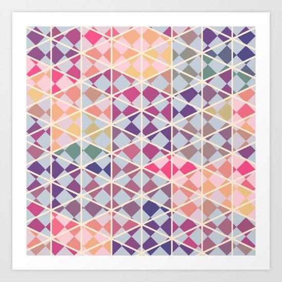 Purple mosaic pattern Art Print