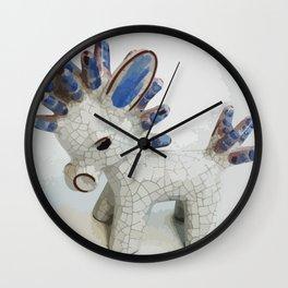 Modern Donkey Illustration with blue hair Wall Clock