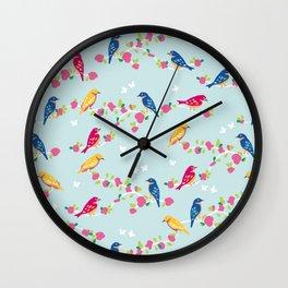 Spring blossom birds blue Wall Clock