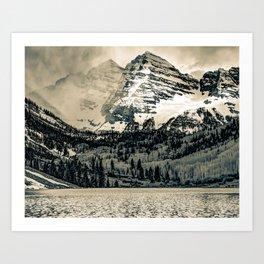 Mountain Peaks and Valleys of Maroon Bells - Sepia Art Print