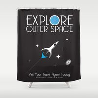outer space Shower Curtains featuring Explore Outer Space by Ryan Polinsky