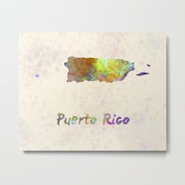 Puerto Rico  in watercolor Metal Print
