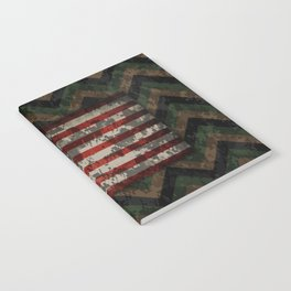 Green and Brown Military Digital Camo Pattern with American Flag Notebook