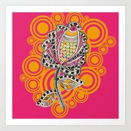 Madhubani - Fish Flower 1 Art Print
