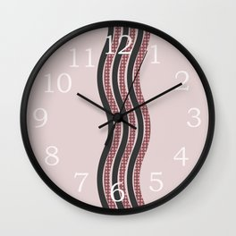 Pastel Pink Textured Black  Waves Wall Clock