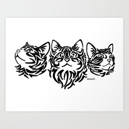 Tribal Cats Art Print