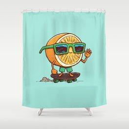 The Orange Skater Shower Curtain