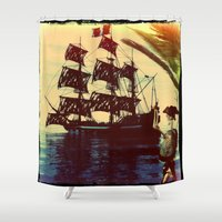 pirate ship Shower Curtains featuring pirate ship by Ancello