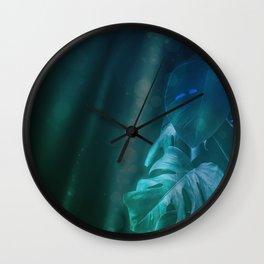 Midnight Jungle Magic Monstera Leaves Wall Clock