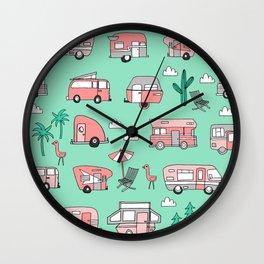 Camper summer vacation tropical pattern RV van life print by andrea lauren Wall Clock