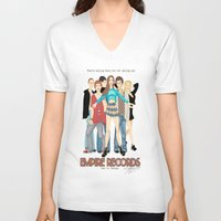 records V-neck T-shirts featuring Empire Records  by Maritza Lugo