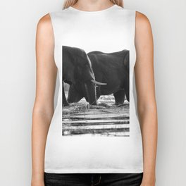 Elephants (Black and White) Biker Tank