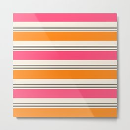Stripes and Lines pink and orange Metal Print