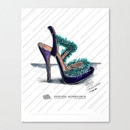 Fluffy feather purple heels Canvas Print