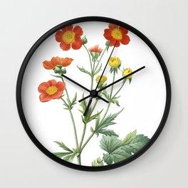 Nature, botanical print, flower poster art of Dwarf Orange Avens Wall Clock