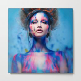 Young woman muse with creative body art and hairdo (5) Metal Print
