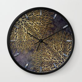 Gold Mandalas on Violet Background Wall Clock