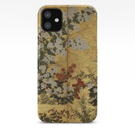 White Red Chrysanthemums Floral Japanese Gold Screen iPhone Case