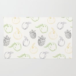Cute and nice fruits and berry pattern with raspberry and plum Rug