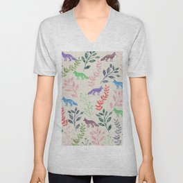 Watercolor Floral & Fox III Unisex V-Neck