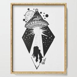 """Taken"" UFO Alien Abduction Originl Artwork, Parnormal, Outer Space Wall Art Serving Tray"