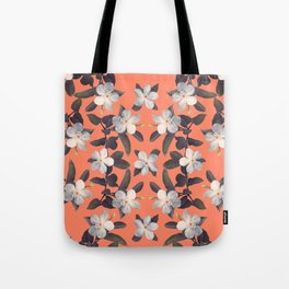 White Angel Flowers in Tangerine Frost Tote Bag