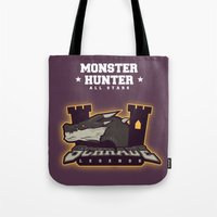 monster hunter Tote Bags featuring Monster Hunter All Stars - Schrade Legends by Bleached ink