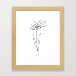 Birthflower, April, Daisy Flower, one line, contour, drawing  Framed Art Print