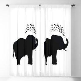 Elephant and butterfly spray Blackout Curtain